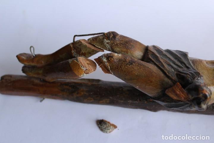 Antigüedades: ANTIGUO CRUCIFIJO MADERA TALLADA, CRISTO SIGLO XVIII .XIX RESTAURAR - Foto 8 - 52597177