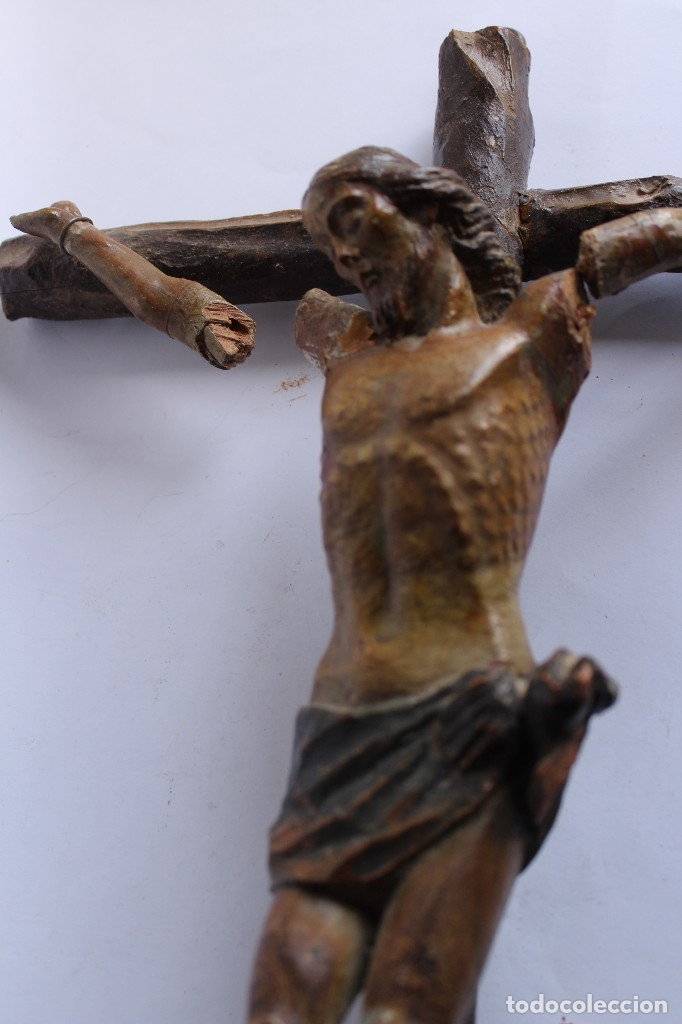 Antigüedades: ANTIGUO CRUCIFIJO MADERA TALLADA, CRISTO SIGLO XVIII .XIX RESTAURAR - Foto 10 - 52597177