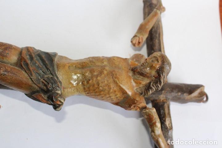 Antigüedades: ANTIGUO CRUCIFIJO MADERA TALLADA, CRISTO SIGLO XVIII .XIX RESTAURAR - Foto 11 - 52597177