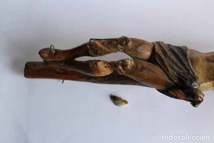 Antigüedades: ANTIGUO CRUCIFIJO MADERA TALLADA, CRISTO SIGLO XVIII .XIX RESTAURAR - Foto 12 - 52597177