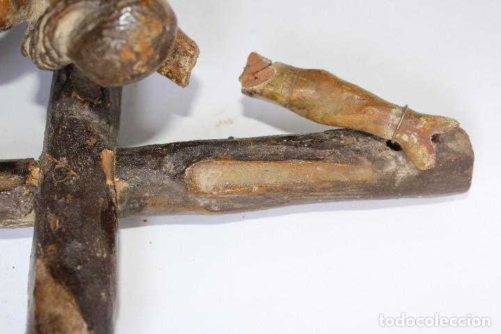 Antigüedades: ANTIGUO CRUCIFIJO MADERA TALLADA, CRISTO SIGLO XVIII .XIX RESTAURAR - Foto 15 - 52597177