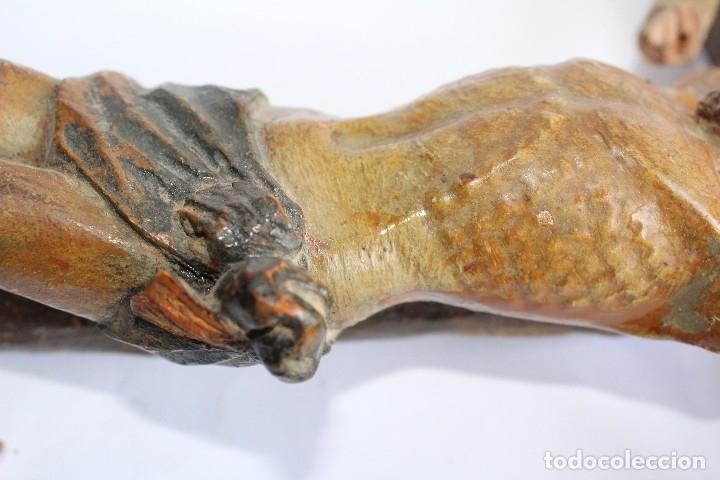 Antigüedades: ANTIGUO CRUCIFIJO MADERA TALLADA, CRISTO SIGLO XVIII .XIX RESTAURAR - Foto 21 - 52597177