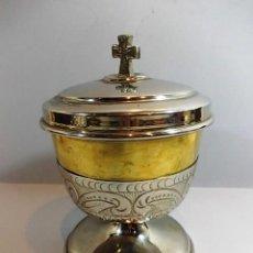 Antigüedades: OSTIARIO EN ACABO DORADO Y PLATEADO CON BASE.. Lote 118483155
