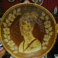 Antigüedades: GRAN PLATO DE TERRACOTA VIDRIADA ARTESANIA ESPAÑOLA SIGLO XIX. Lote 118561811