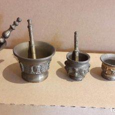 Antigüedades: LOTE DE 5 ALMIRECES EN LATÓN, BRONCE O METAL / 5 TAMAÑOS. BUENA CALIDAD.. Lote 118573295