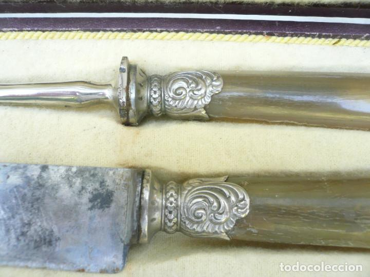Antigüedades: CUBIERTOS DE TRINCHAR EN SU ESTUCHE. P. BRISSOT. FRANCIA AÑOS 40-50 - Foto 10 - 118578415