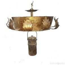 Antigüedades: LAMPARA DE CARBURO Y LAMPARA DE LATÓN. Lote 113339687