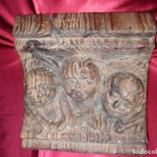 Antigüedades: PEANA TALLADA EN MADERA CON ANGELES. Lote 118600723