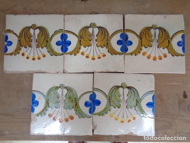 CINCO AZULEJOS.VALENCIA SIGLO XIX.B002 (Antigüedades - Porcelanas y Cerámicas - Azulejos)