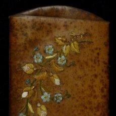 Antigüedades: ANTIGUO TARJETERO - BILLETERO DE PIEL BORDADA S. XIX. Lote 118642175