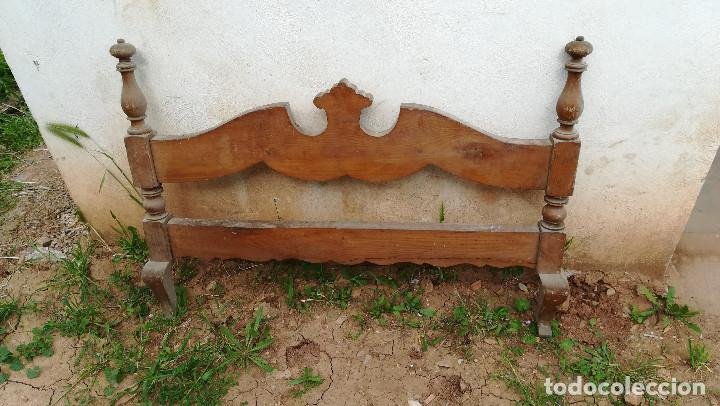 CABECERO CAMA MADERA PEQUEÑA (Antigüedades - Muebles Antiguos - Camas Antiguas)