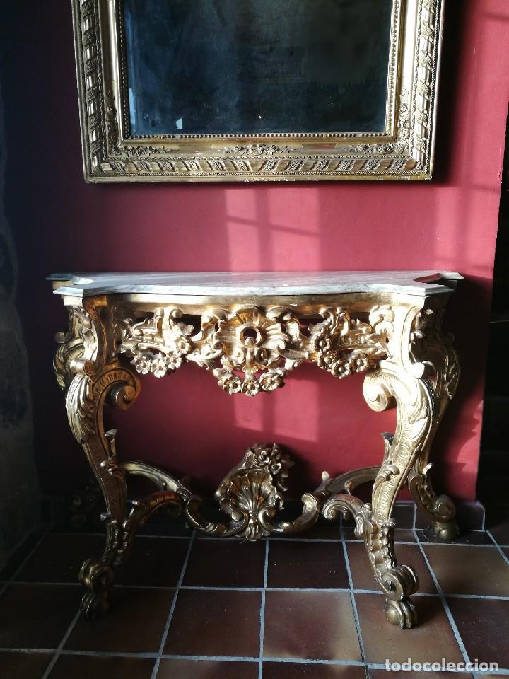 Antigüedades: Consola con espejo dorado - Foto 6 - 118675483