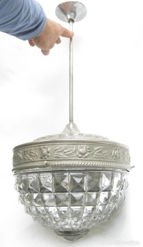 LAMPARA ANTIGUA CRISTAL DRESDEN CIRCA 1900 JUGENDSTIL ART DECO ALEMANIA (Antigüedades - Iluminación - Lámparas Antiguas)