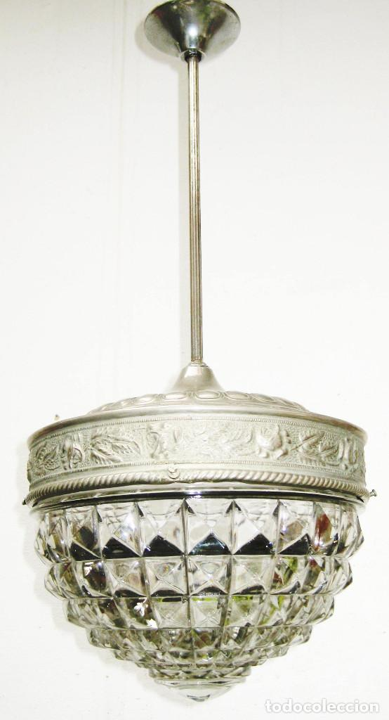 Antigüedades: LAMPARA ANTIGUA CRISTAL DRESDEN CIRCA 1900 JUGENDSTIL ART DECO ALEMANIA - Foto 4 - 118745775