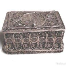 Antigüedades: BAUL COFRE CAJA FILIGRANA DE PLATA CORDOBESA. MED. 5 X 3 X 2,50 CM. Lote 118759695
