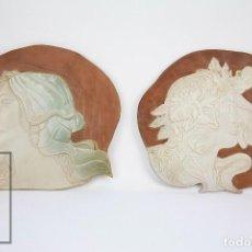Antigüedades: PAREJA RELIEVES MODERNISTAS / ART NOUVEAU DE CERÁMICA ESMALTADA DE NEUS SEGRIÀ, REUS. FINALES S. XX. Lote 118774543