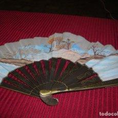 Antigüedades: BONITO ABANICO DE MADERA Y TELA PINTADA.. Lote 118783831