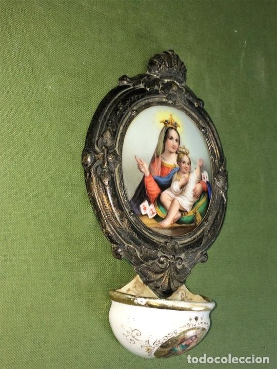 Antigüedades: BENDITERA. VIRGEN DEL CARMEN. PORCELANA ESMALTADA. METAL CHAPADO PLATA. ESPAÑA. XIX - Foto 6 - 118790703