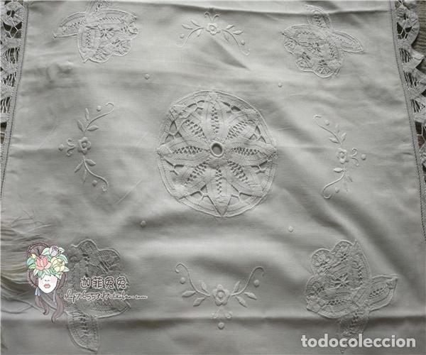 Antigüedades: Preciosa funda cojin. años 80 Encajes brujas y bordado a mano.40x40 blanco. nuevo - Foto 2 - 284408638