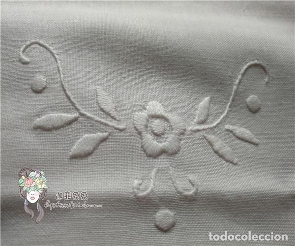 Antigüedades: Preciosa funda cojin. años 80 Encajes brujas y bordado a mano.40x40 blanco. nuevo - Foto 5 - 284408638