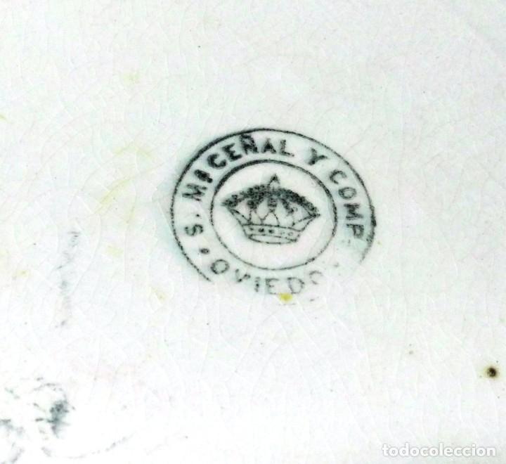 Antigüedades: Plato o ensaladera pintada. S. M. Ceñal. Cerámica Oviedo - Foto 4 - 118816755