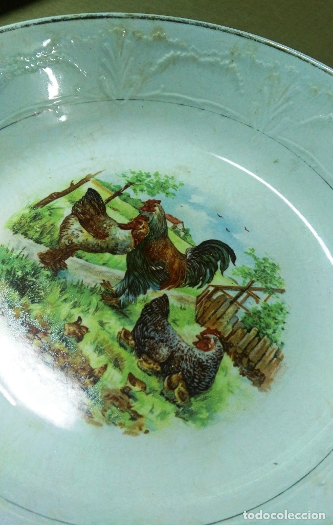 Antigüedades: Plato o ensaladera pintada. S. M. Ceñal. Cerámica Oviedo - Foto 6 - 118816755