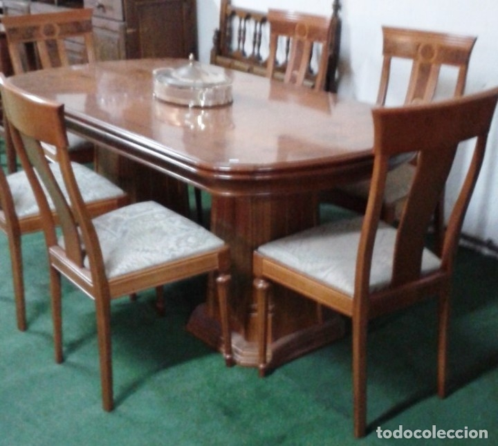 comedor de raiz con seis sillas tapiazadas mesa - Kaufen Antike ...