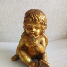 Antigüedades: PRECIOSO ANGEL DORADO DE PORCELANA CERAMICA ALTURA 13 CM APROX ANGELITO. Lote 118889559