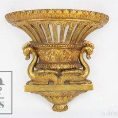 Antigüedades: ANTIGUA MÉNSULA O ADORNO DE MADERA CALADA Y DORADA - CISNES, HOJAS ACANTO - SIGLO XIX. Lote 118895815