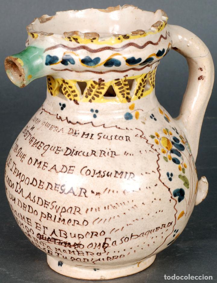 JARRA BURLADERA INSCRITA DE CERÁMICA ESMALTADA DE TALAVERA FINALES DEL SIGLO XVIII (Antigüedades - Porcelanas y Cerámicas - Talavera)