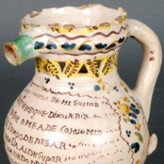 Antigüedades: JARRA BURLADERA INSCRITA DE CERÁMICA ESMALTADA DE TALAVERA FINALES DEL SIGLO XVIII. Lote 118910719