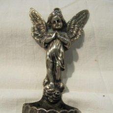Antigüedades: ANTIGUA BENDITERA DE PLATA - ANGEL DE LA GUARDA . Lote 118925131