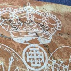 Antigüedades: PLACA MARMOL GRABADO TALLADO REAL ORDEN SANTO SEPULCRO JERUSALEM ARISTOCRACIA HERALDICA 15X15X7CMS. Lote 118933491
