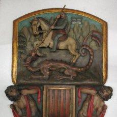 Antigüedades: FIGURA DE SANT JORDI TALLADA EN MADERA Y PINTADA A MANO. (F. S.XIX-P. S.XX).. Lote 118993039