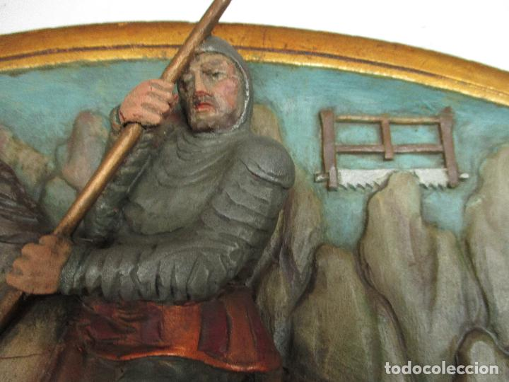 Antigüedades: FIGURA DE SANT JORDI TALLADA EN MADERA Y PINTADA A MANO. (F. S.XIX-P. S.XX). - Foto 2 - 118993039