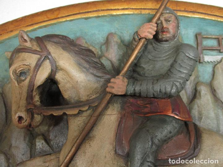 Antigüedades: FIGURA DE SANT JORDI TALLADA EN MADERA Y PINTADA A MANO. (F. S.XIX-P. S.XX). - Foto 4 - 118993039