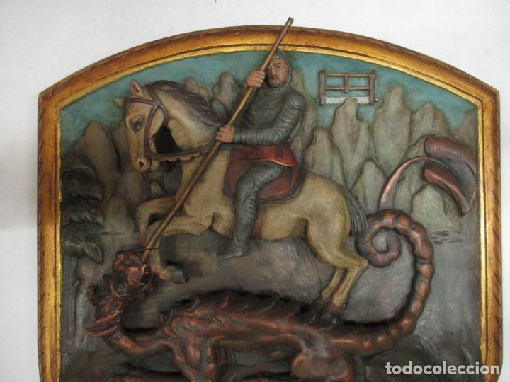 Antigüedades: FIGURA DE SANT JORDI TALLADA EN MADERA Y PINTADA A MANO. (F. S.XIX-P. S.XX). - Foto 14 - 118993039