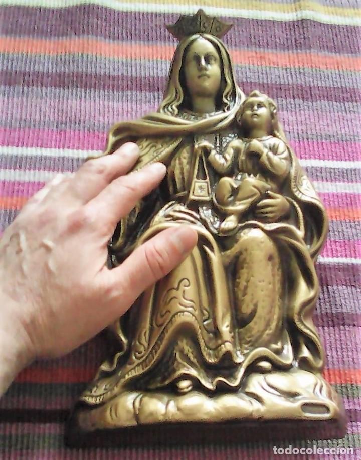 VIRGEN DEL CARMEN IMAGEN DE 31,5 CMS CAGGIATI 1,49 KG BASE DE APOYO Y POSIBILIDAD DE COLGAR (Antigüedades - Religiosas - Orfebrería Antigua)