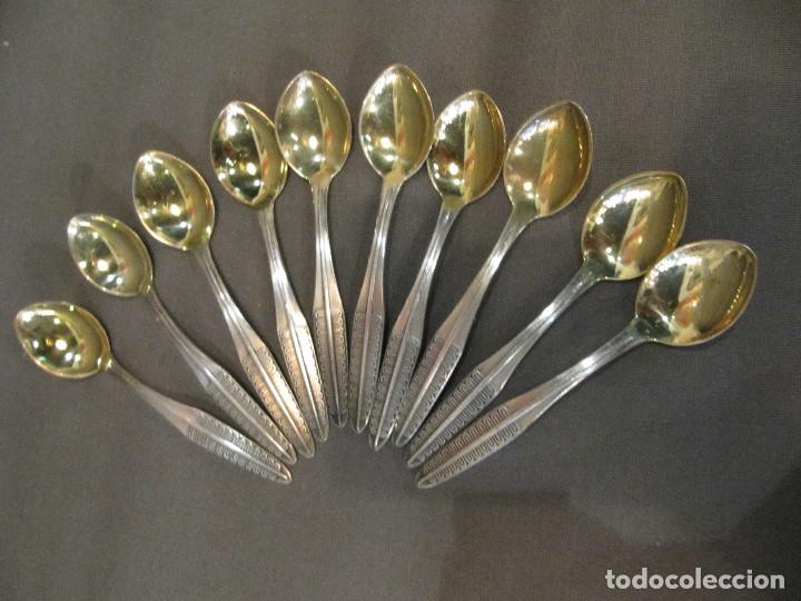 10 CUCHARILLAS DE PLATA Y PLATA DORADA - CONTRASTE - (Antigüedades - Platería - Plata de Ley Antigua)