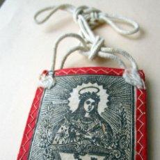 Antigüedades: ESCAPULARIO ANTIGUO, SANTA FILOMENA, LANA Y ALGODÓN.ARTESANAL SIN USO. 7,5 X 5 CM.. Lote 119036467