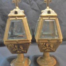 Antiguidades: 2 LAMPARAS , CANDELABROS, FAROLITOS, PARA CEMENTERIO, IGLESIA ETC. Lote 119044603