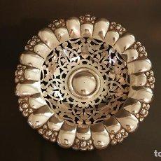 Antigüedades: CESTA BANDEJA FRUTERO EN PLATA LEY MARCADO CON CONTRASTE. Lote 119048467