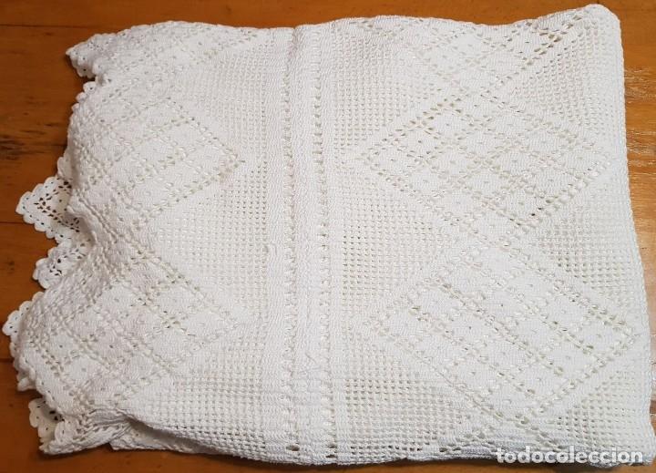 Antigüedades: Colcha ganchillo para cama de matrimonio hecha a mano. - Foto 3 - 119052983