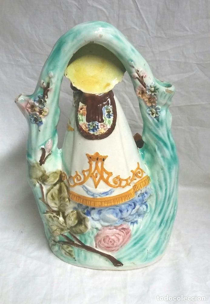 Antigüedades: Botijo Virgen de los Desamparados patrona de Valencia, Porcelana Manises años 30. Med. 28 cm altura - Foto 3 - 67727285