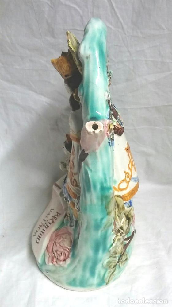 Antigüedades: Botijo Virgen de los Desamparados patrona de Valencia, Porcelana Manises años 30. Med. 28 cm altura - Foto 4 - 67727285