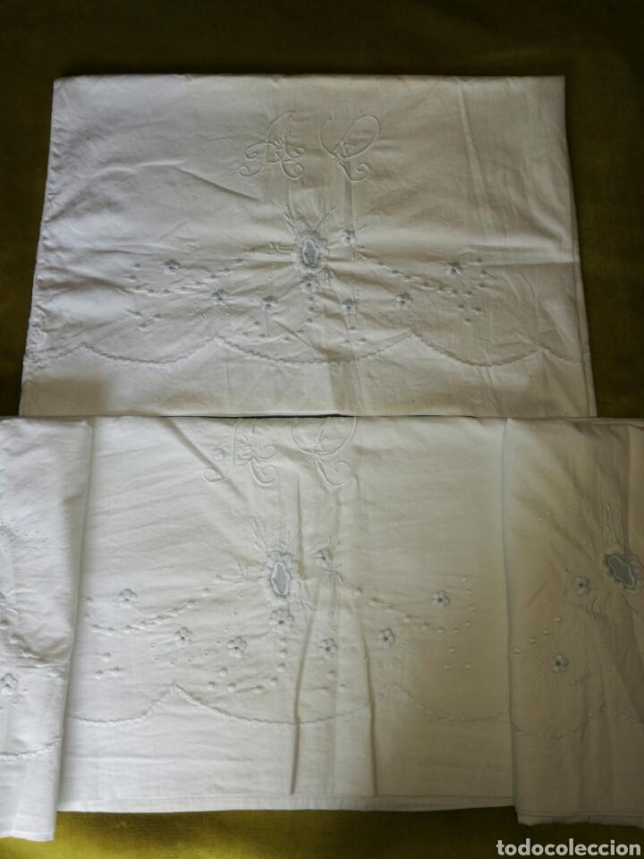 Antigüedades: Juego de sábanas bordado - Foto 2 - 119101843