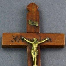 Antigüedades: CRUCIFIJO DE MADERA Y CRISTO DE BRONCE PRINCIPIOS SIGLO XX. Lote 119108255