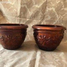 Antigüedades: MACETEROS DE REFLEJOS RELIEVE. Lote 119121271