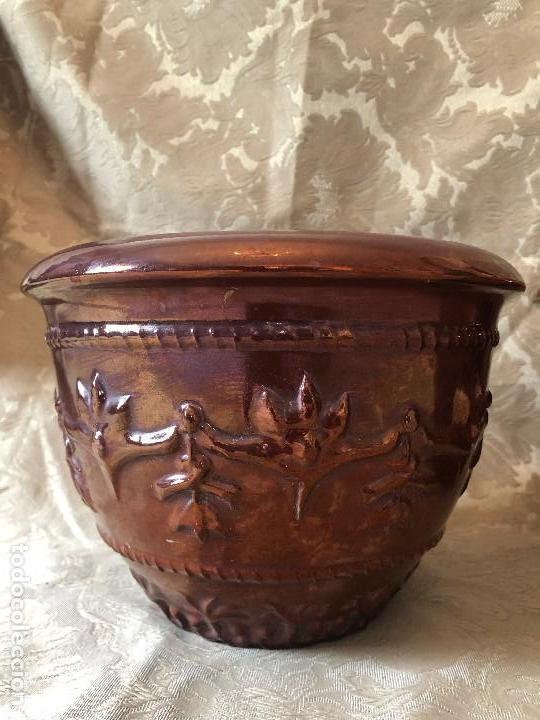 Antigüedades: MACETEROS DE REFLEJOS RELIEVE - Foto 3 - 119121271