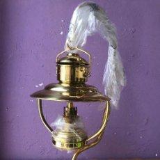 Antigüedades: LAMPARA O FAROL DE COLGAR DE ACEITE EN LATON O BRONCE -GAUDARD - NUEVA A ESTRENAR. Lote 134109479